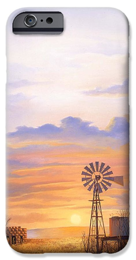 Windmill IPhone 6 Case featuring the painting West Texas Sundown by Howard Dubois