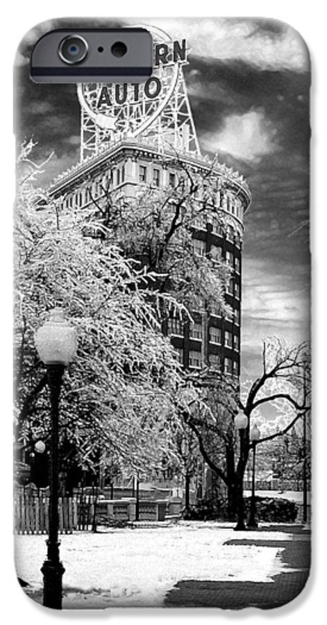 Western Auto Kansas City IPhone 6 Case featuring the photograph Western Auto In Winter by Steve Karol