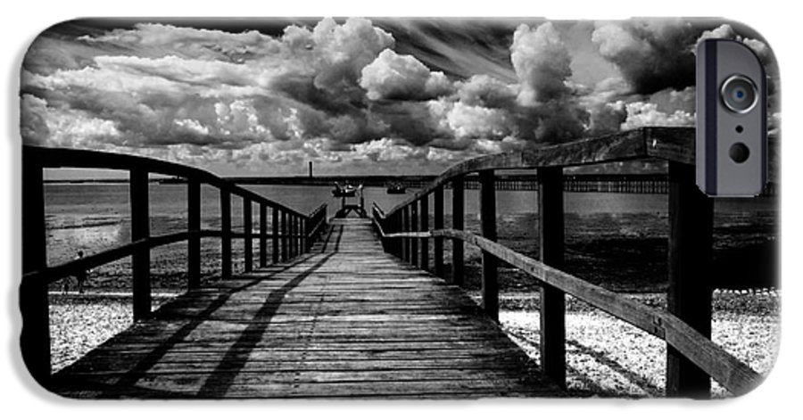 Southend On Sea Wharf Clouds Beach Sand IPhone 6 Case featuring the photograph Wharf At Southend On Sea by Avalon Fine Art Photography