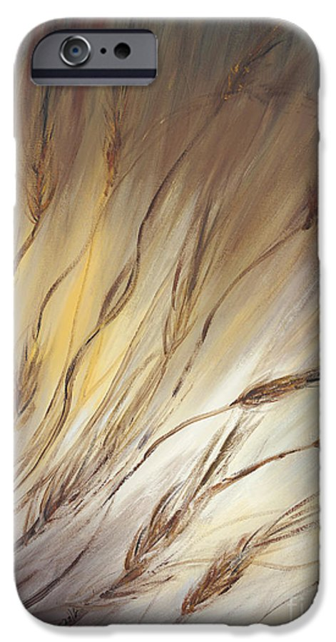 Wheat IPhone 6 Case featuring the painting Wheat In The Wind by Nadine Rippelmeyer