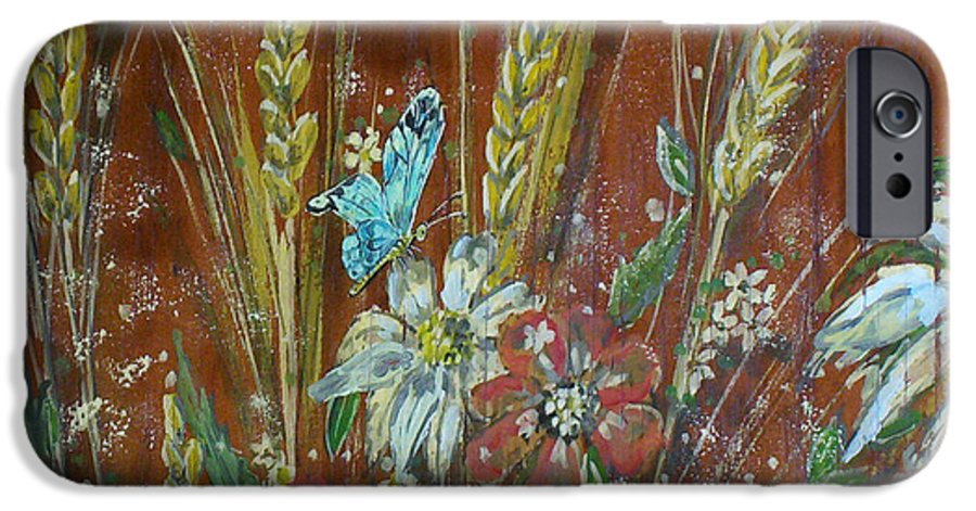 Flowers IPhone 6 Case featuring the painting Wheat 'n' Wildflowers I by Phyllis Mae Richardson Fisher