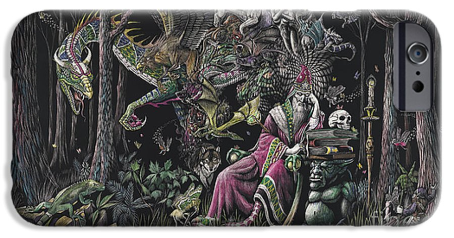 Dragon IPhone 6 Case featuring the drawing When Wizards Dream by Stanley Morrison