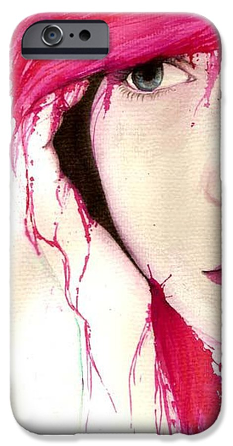 Pink Girl IPhone 6 Case featuring the drawing Where Do You Think Beauty Goes by Freja Friborg