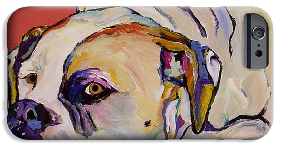 American Bulldog IPhone 6 Case featuring the painting Where Is My Dinner by Pat Saunders-White
