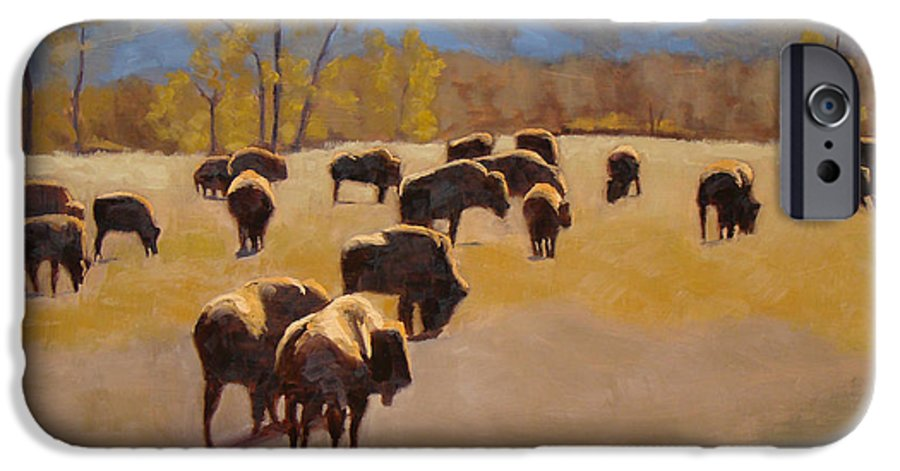 Buffalo IPhone 6 Case featuring the painting Where The Buffalo Roam by Tate Hamilton