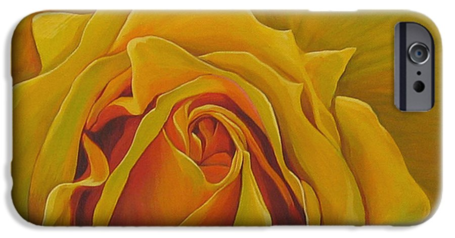 Yellow Rose IPhone 6 Case featuring the painting Where The Rose Is Sown by Hunter Jay