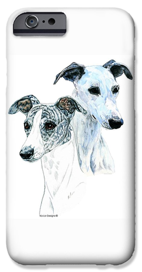 Whippet IPhone 6 Case featuring the painting Whippet Pair by Kathleen Sepulveda