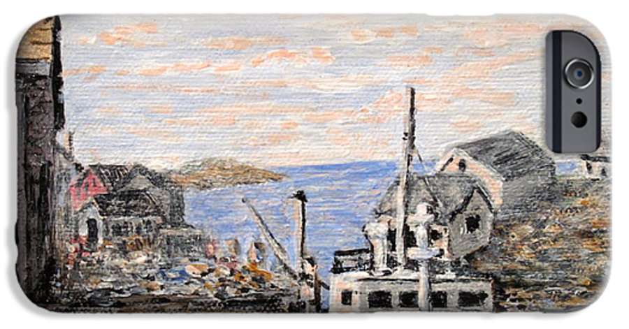 White IPhone 6 Case featuring the painting White Boat In Peggys Cove Nova Scotia by Ian MacDonald
