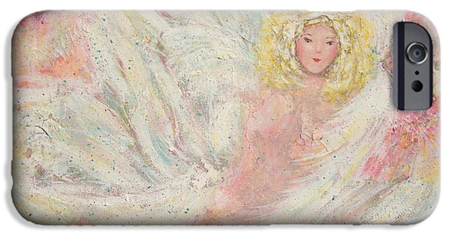 Angel IPhone 6 Case featuring the painting White Feathers Secret Garden Angel 4 by Natalie Holland