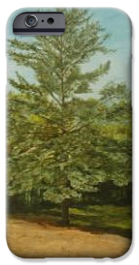 Pine Tree IPhone 6 Case featuring the painting White Lake by Leah Tomaino