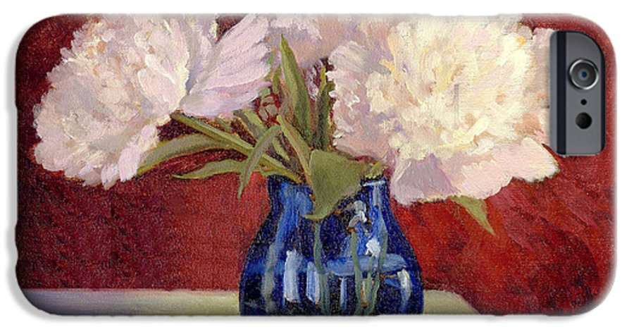 Peonies IPhone 6 Case featuring the painting White Peonies by Keith Burgess