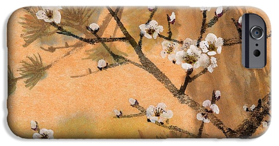White Plum Blossoms IPhone 6 Case featuring the painting White Plum Blossoms With Pine Tree by Eileen Fong