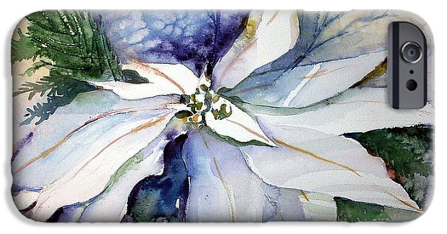 Floral IPhone 6 Case featuring the painting White Poinsettia by Mindy Newman