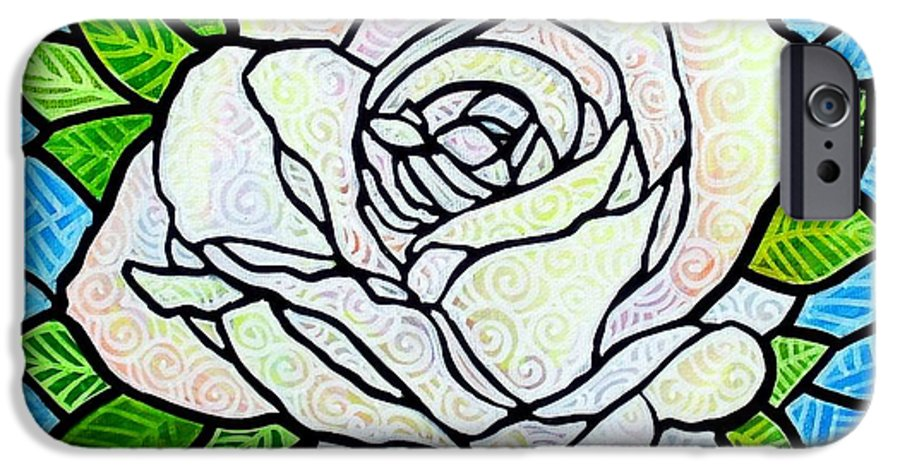 White IPhone 6 Case featuring the painting White Rose by Jim Harris