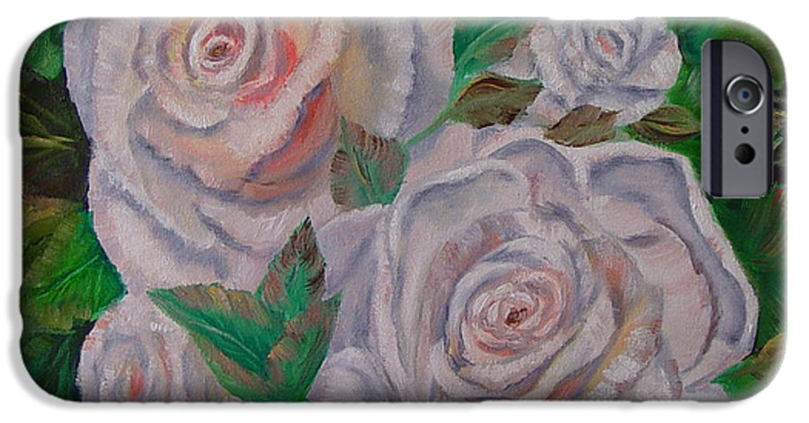 Roses IPhone 6 Case featuring the painting White Roses by Quwatha Valentine