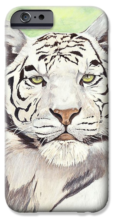 Tiger IPhone 6 Case featuring the painting White Silence by Shawn Stallings
