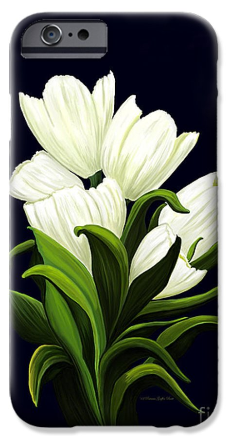 Mixed Media IPhone 6 Case featuring the painting White Tulips by Patricia Griffin Brett