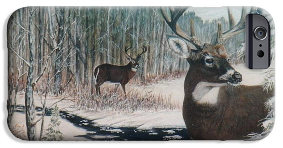 Deer; Snow; Creek IPhone 6 Case featuring the painting Whitetail Deer by Ben Kiger