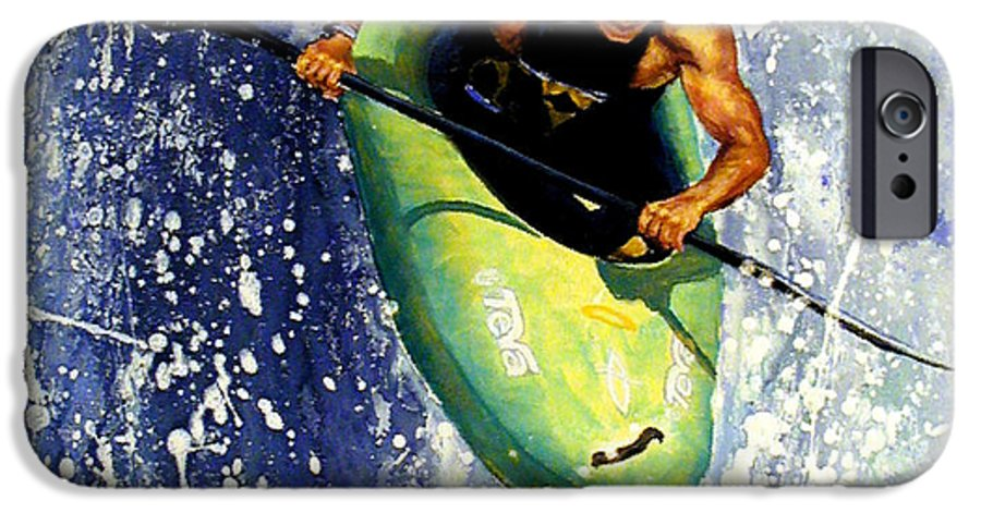 Kayaker IPhone 6 Case featuring the painting Whitewater Kayaker by Lynee Sapere