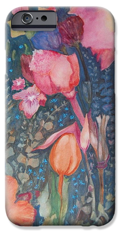 Flower Abstract IPhone 6 Case featuring the painting Wild Flowers In The Wind II by Henny Dagenais