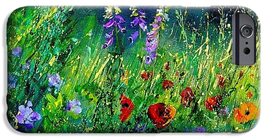 Poppies IPhone 6 Case featuring the painting Wild Flowers by Pol Ledent