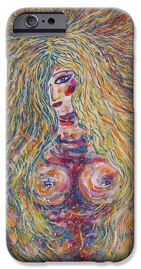 Nude IPhone 6 Case featuring the painting Wild Passion by Natalie Holland