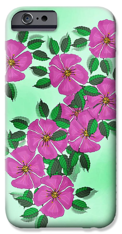 Floral IPhone 6 Case featuring the painting Wild Roses by Anne Norskog