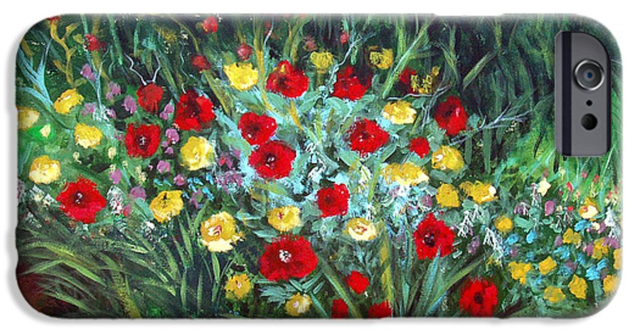 Abstract IPhone 6 Case featuring the painting Wildflower Garden 1 by Nancy Mueller