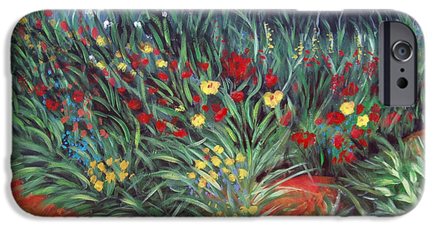 Landscape IPhone 6 Case featuring the painting Wildflower Garden 2 by Nancy Mueller
