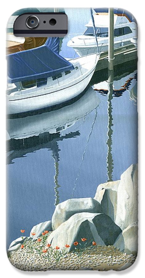Sailboat IPhone 6 Case featuring the painting Wildflowers On The Breakwater by Gary Giacomelli