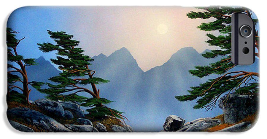 Windblown Pines IPhone 6 Case featuring the painting Windblown Pines by Frank Wilson