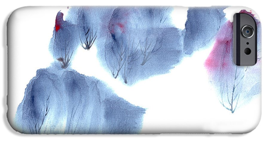 Waving Trees In A Forest On A Windy Day. This Is A Contemporary Chinese Ink And Color On Rice Paper Painting With Simple Zen Style Brush Strokes.  IPhone 6 Case featuring the painting Windy Forest by Mui-Joo Wee