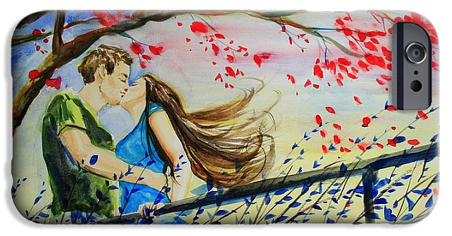 Wind IPhone 6 Case featuring the painting Windy Kiss by Laura Rispoli