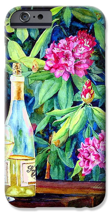 Rhododendron IPhone 6 Case featuring the painting Wine And Rhodies by Karen Stark