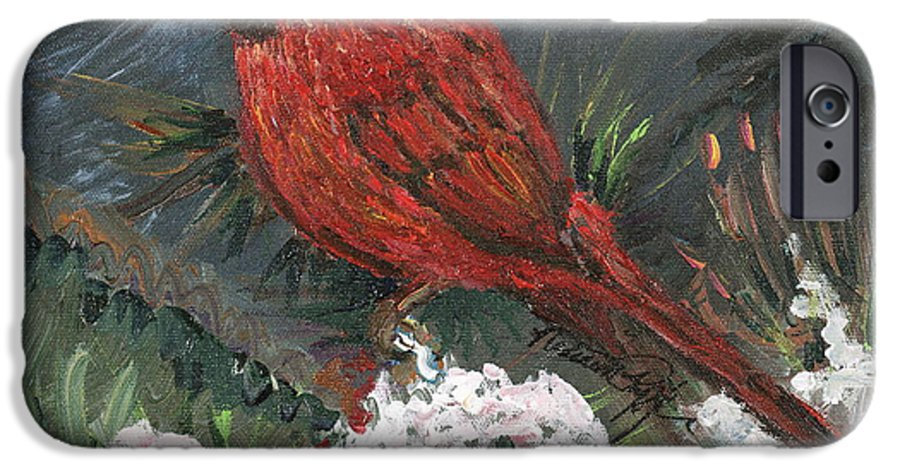 Bird IPhone 6 Case featuring the painting Winter Cardinal by Nadine Rippelmeyer