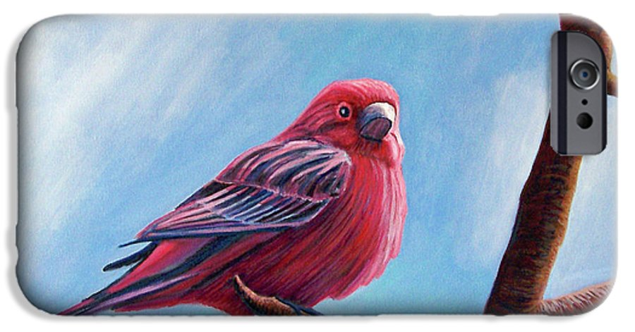 Bird IPhone 6 Case featuring the painting Winter Finch by Brian Commerford