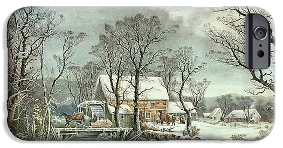 Winter In The Country - The Old Grist Mill IPhone 6 Case featuring the painting Winter In The Country - The Old Grist Mill by Currier and Ives