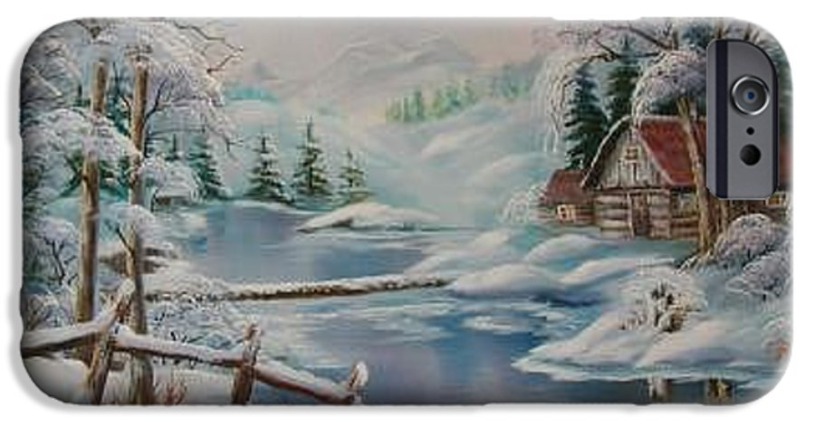 Winter Scapes IPhone 6 Case featuring the painting Winter In The Valley by Irene Clarke