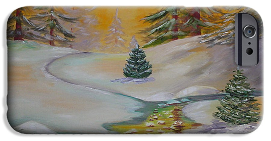 Winter IPhone 6 Case featuring the painting Winter by Quwatha Valentine