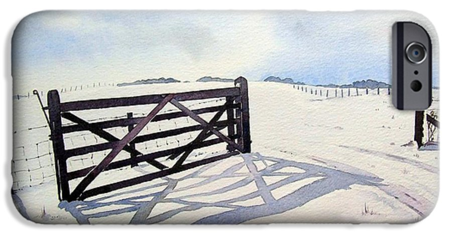 Landscape IPhone 6 Case featuring the painting Winter Scene With Gate by Paul Dene Marlor