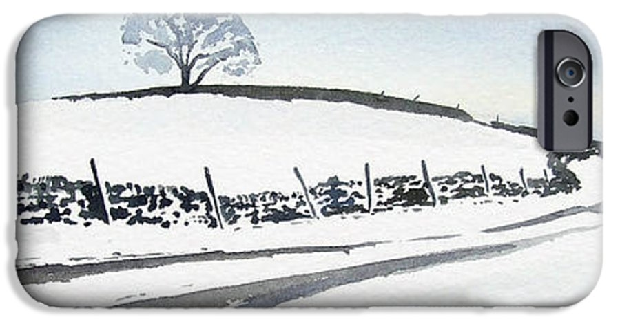 Snowscene In The Yorkshire Dales IPhone 6 Case featuring the painting Winter Snow In The Dales by Paul Dene Marlor