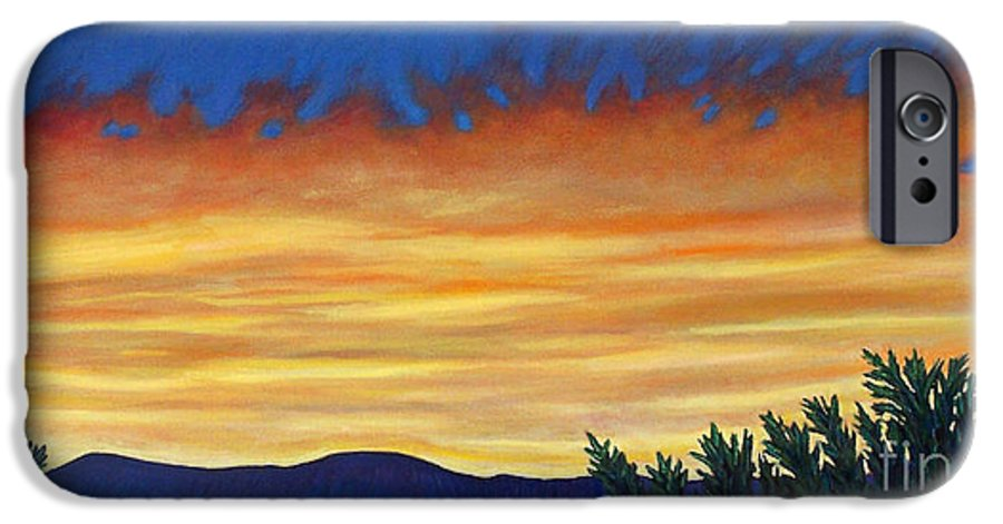 Sunset IPhone 6 Case featuring the painting Winter Sunset In El Dorado by Brian Commerford