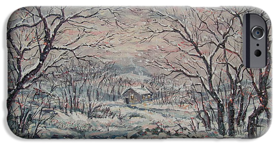 Landscape IPhone 6 Case featuring the painting Wintery December by Leonard Holland