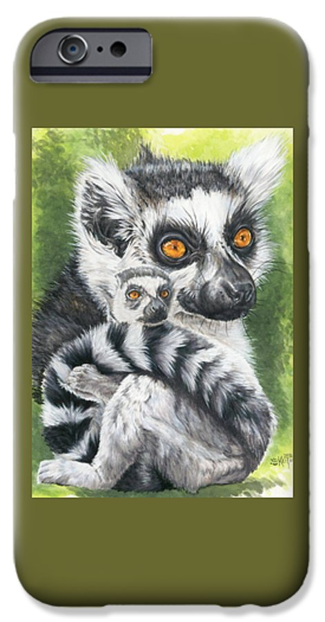 Lemur IPhone 6 Case featuring the mixed media Wistful by Barbara Keith