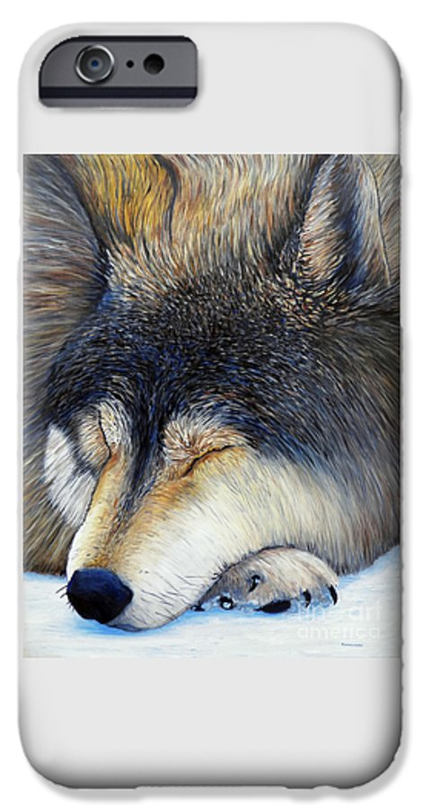 Wolf IPhone 6 Case featuring the painting Wolf Dreams by Brian Commerford