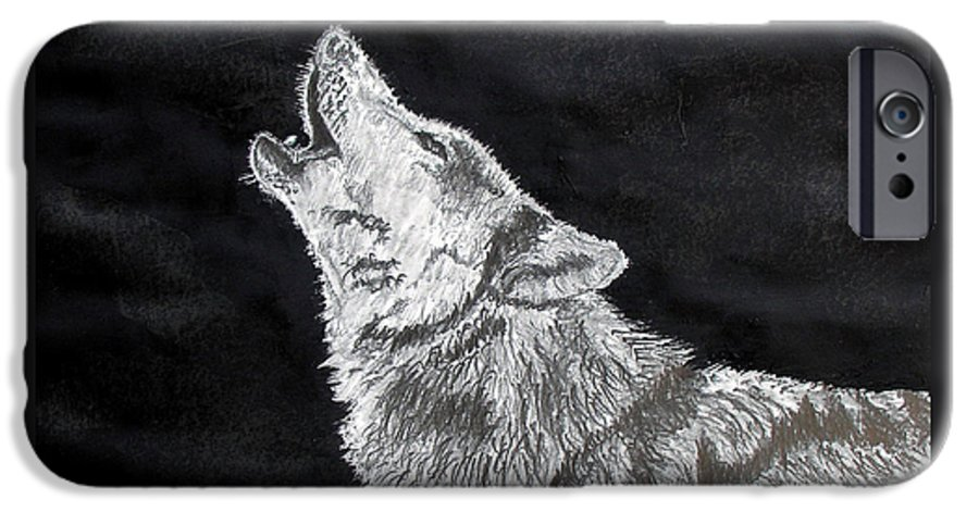 Pencil IPhone 6 Case featuring the drawing Wolf Howl by Stan Hamilton