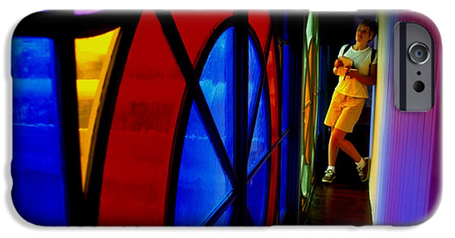 Colorful IPhone 6 Case featuring the photograph Woman And Stained Glass by Carl Purcell