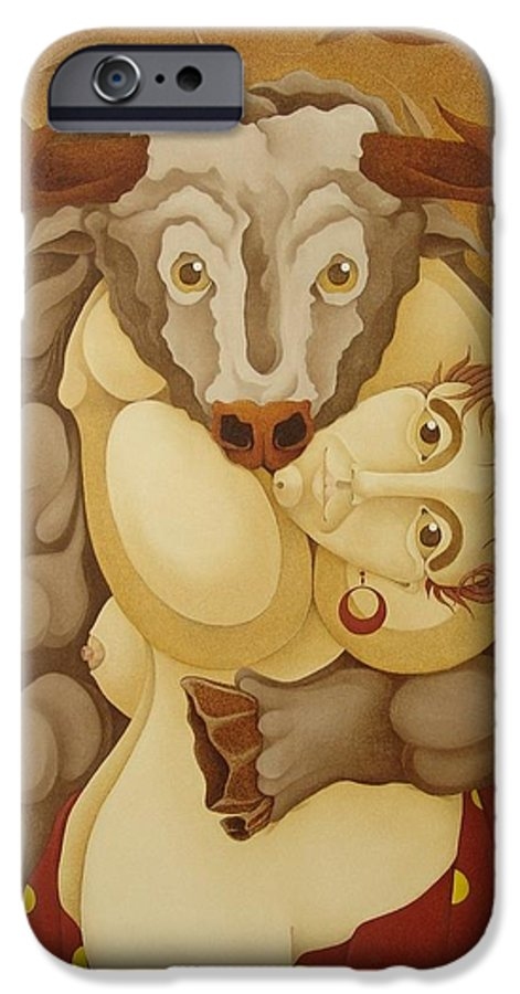 Sacha IPhone 6 Case featuring the painting Woman Embracing Bull 2005 by S A C H A - Circulism Technique