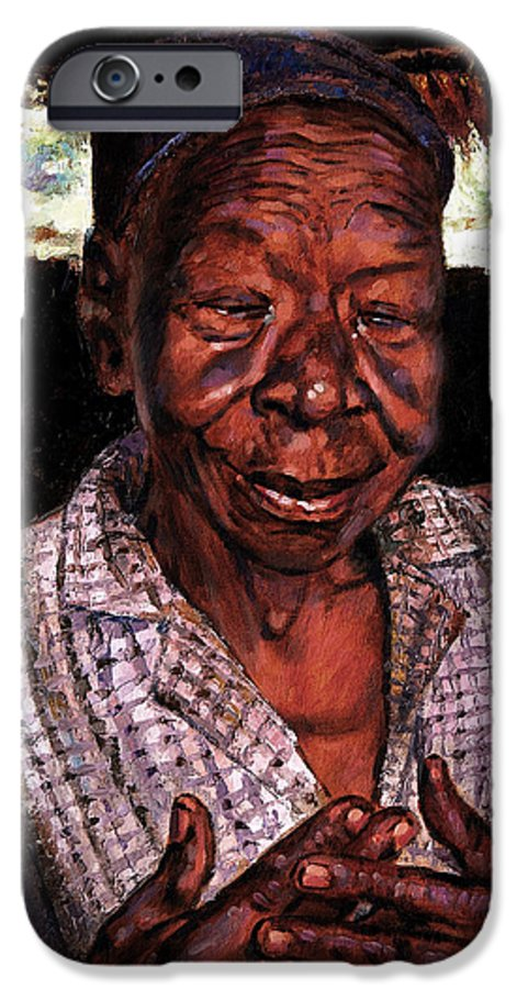 Black Woman IPhone 6 Case featuring the painting Woman Of Faith by John Lautermilch