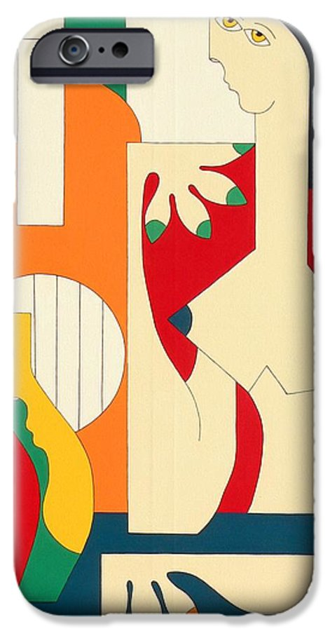 Women Music Modern Green Orange Bleu Gitar IPhone 6 Case featuring the painting Women And Music by Hildegarde Handsaeme